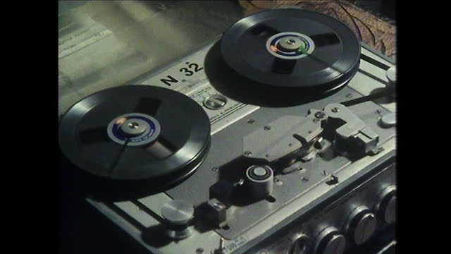 cu tape recorder as reels rotate; 1980 - broadcasting stock videos & royalty-free footage