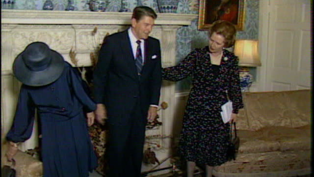 tapes released of phone calls between ronald reagan and margaret thatcher 861982 / as080682008 10 downing street int margaret thatcher and denis... - 10 downing street stock videos and b-roll footage
