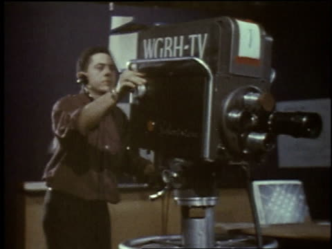 1957 montage taping of television show inside studio / new york city, new york, united states - fernsehserie stock-videos und b-roll-filmmaterial