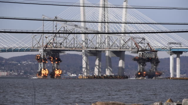 tappan zee bridge demolition - imploding stock videos and b-roll footage