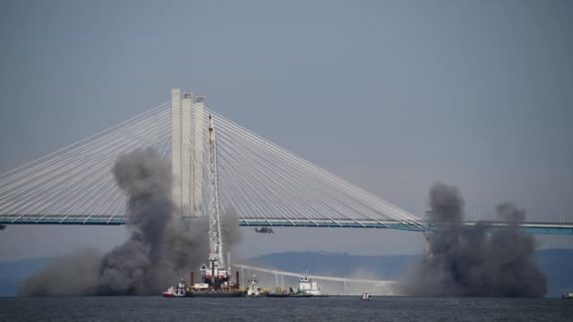 tappan zee bridge demolition - dynamite stock videos & royalty-free footage
