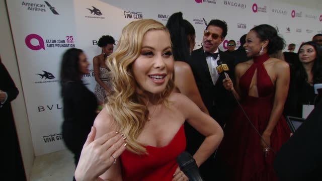 INTERVIEW Tara Lipinski at the Elton John AIDS Foundation Presents the 26th Annual Academy Awards Viewing Party on March 04 2018 in West Hollywood...