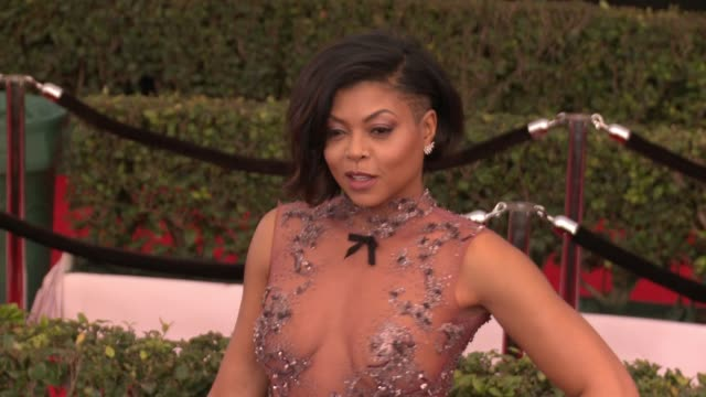 taraji p henson at 23rd annual screen actors guild awards arrivals in los angeles ca - taraji p. henson stock videos and b-roll footage