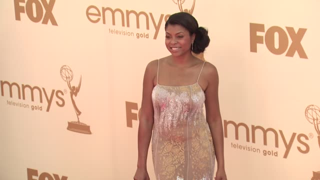 taraji p henson at the 63rd primetime emmy awards arrivals part 1 at los angeles ca - 63rd annual primetime emmy awards stock videos and b-roll footage