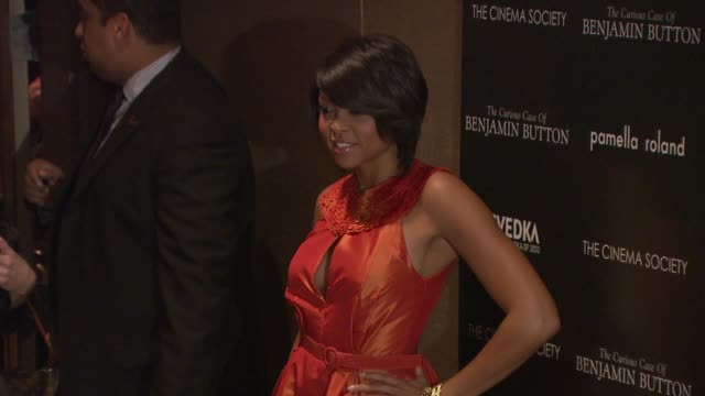 taraji p henson at the cinema society hosts 'the curious case of benjamin button' screening at new york ny - taraji p. henson stock videos and b-roll footage