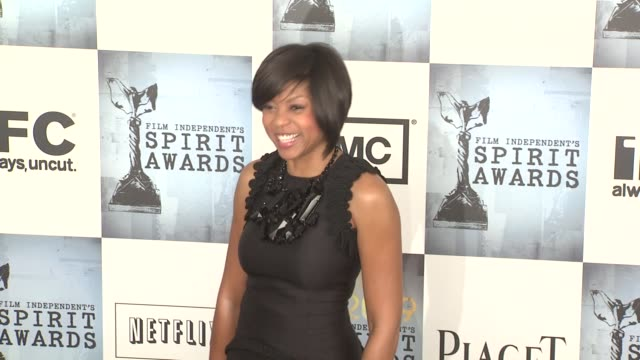 taraji p henson at the film independent's 2009 spirit awards arrivals part 3 at los angeles ca - taraji p. henson stock videos and b-roll footage