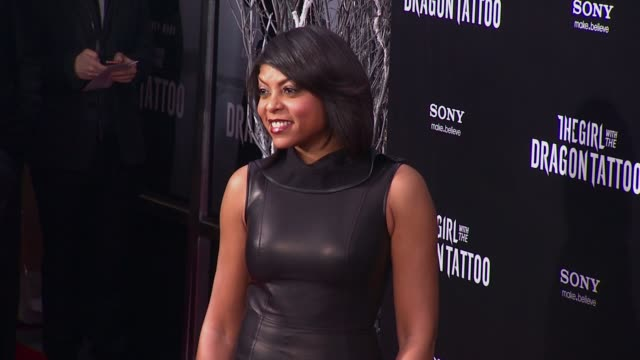 taraji p henson at 'the girl with the dragon tattoo' new york premiere new york ny united states - the girl with the dragon tattoo stock videos and b-roll footage