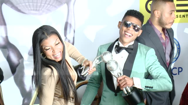 taraji p henson bryshere y gray at 47th naacp image awards in los angeles ca - taraji p. henson stock videos and b-roll footage