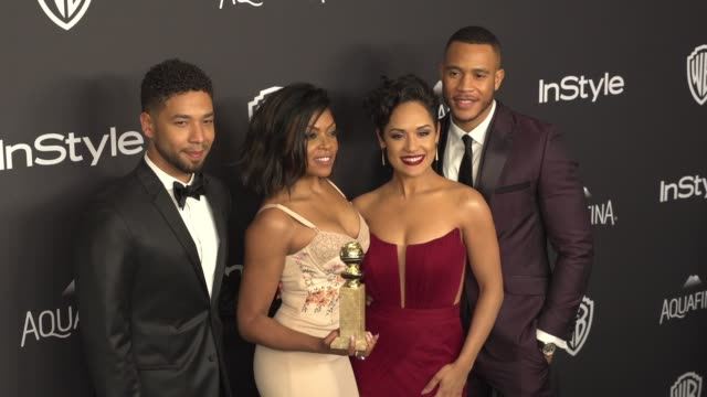taraji p henson jussie smollett devon franklin and grace gealey at the 17th annual instyle and warner bros pictures golden globe afterparty at the... - taraji p. henson stock videos and b-roll footage