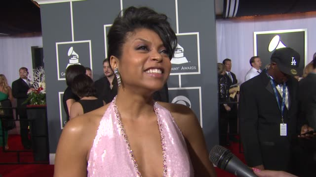 taraji p henson on being at the event and on whitney houston at 54th annual grammy awards arrivals on 2/12/12 in los angeles ca - taraji p. henson stock videos and b-roll footage
