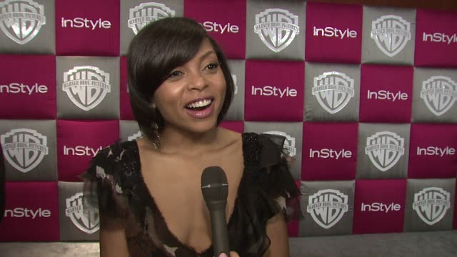 taraji p henson on her favorite part of the show mickey rourke winning and wanting to meet meryl streep at the instyle 2009 golden globes after party... - taraji p. henson stock videos and b-roll footage