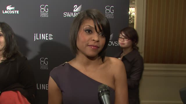 taraji p henson on supporting costume designers her costumes for benjamin button at the 11th annual costume designer guild awards at los angeles ca - taraji p. henson stock videos and b-roll footage