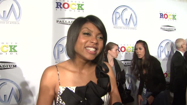 taraji p henson on the event supporting the producers of 'benjamin button' if she wants to be a producer someday at the 20th annual producers guild... - taraji p. henson stock videos and b-roll footage