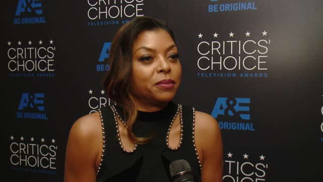 interview taraji p henson on winning an award and on her series empire at the 2015 critics' choice television awards at the beverly hilton hotel on... - 2015 stock videos & royalty-free footage