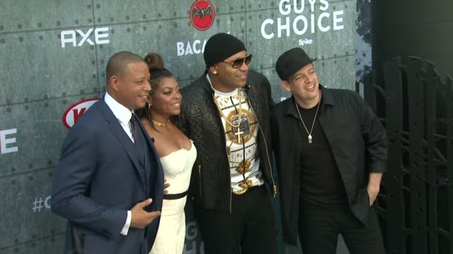 "taraji p. henson, terrence howard, z-trip, and ll cool j at spike tv's ""guys choice 2015"" at sony pictures studios on june 06, 2015 in culver city,... - terrence howard stock videos & royalty-free footage"