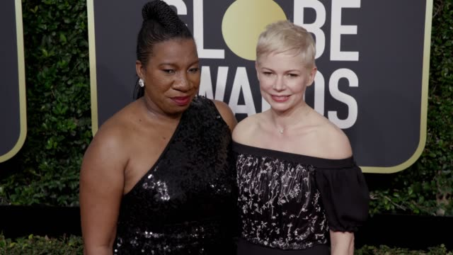 tarana burke and michelle williams at the 75th annual golden globe awards at the beverly hilton hotel on january 07, 2018 in beverly hills,... - the beverly hilton hotel stock videos & royalty-free footage