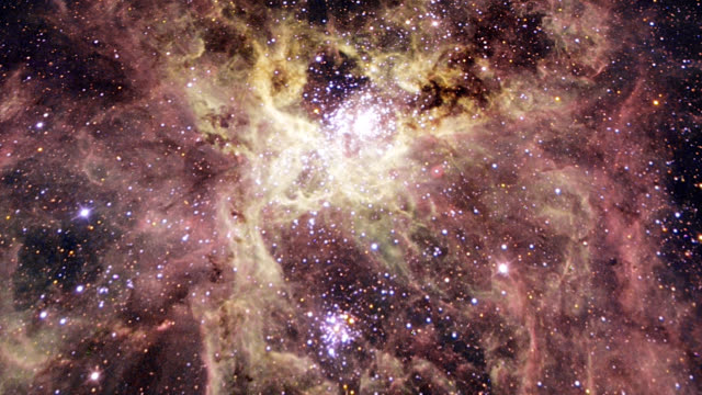 Tarantula nebula, optical image. Also known as 30 Doradus and NGC 2070, the Tarantula nebula is an emission nebula spanning nearly 1000 light years across.