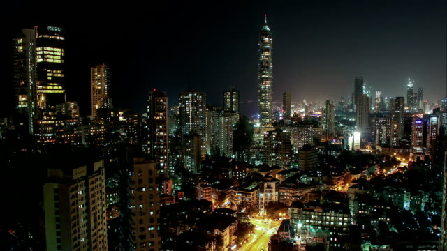 Tardeo , Mumbai at Night with Antilla and Imperial towers
