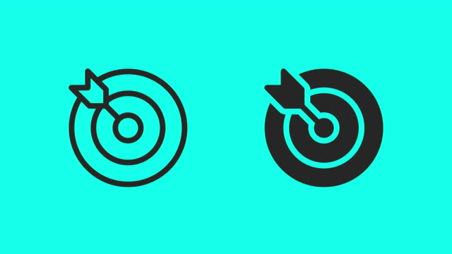 target and arrow icons - vector animate - sports target stock videos & royalty-free footage