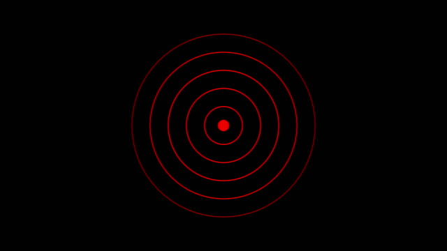target icon with radio wave, circle radar interface signal with concentric rings moving. animation of radio wave, radar or sonar. - two dimensional shape stock videos & royalty-free footage