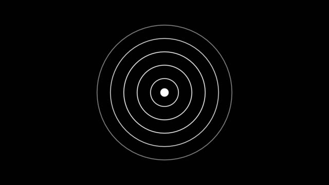 vídeos de stock e filmes b-roll de target icon with radio wave, circle radar interface signal with concentric rings moving. animation of radio wave, radar or sonar. - part of a series