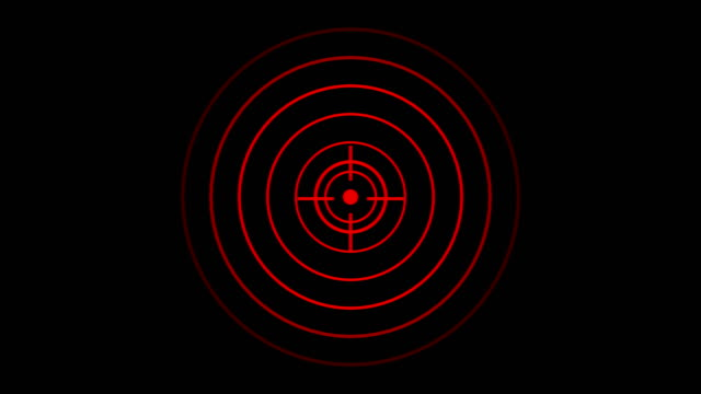 target icon with radio wave, circle radar interface signal with concentric rings moving. animation of radio wave, radar or sonar. - image focus technique stock videos & royalty-free footage