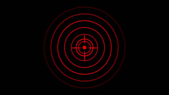 vídeos de stock, filmes e b-roll de ícone de alvo com onda de rádio, sinal de interface de radar circular com anéis concêntricos em movimento. animação de onda de rádio, radar ou sonar. - alvo militar