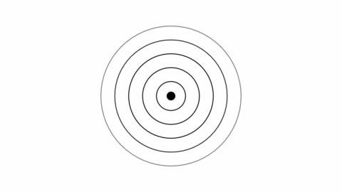 vídeos de stock e filmes b-roll de target icon with radio wave, circle radar interface signal with concentric rings moving. animation of radio wave, radar or sonar. - circle