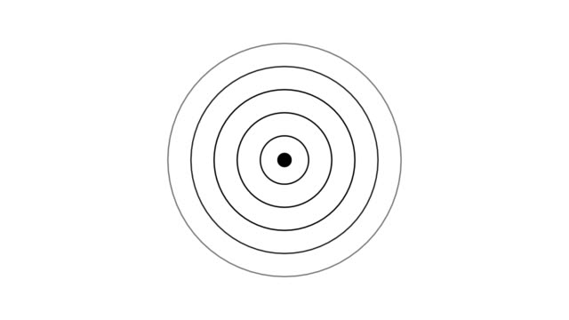 target icon with radio wave, circle radar interface signal with concentric rings moving. animation of radio wave, radar or sonar. - plain stock videos & royalty-free footage