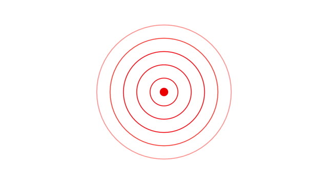 target icon with radio wave, red circle radar interface signal with concentric rings moving. animation of radio wave, radar or sonar. - concentric stock videos & royalty-free footage
