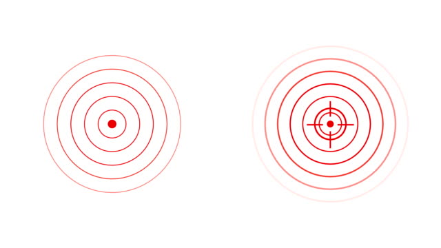 target icon with radio wave, red circles radar interface signal with concentric rings moving. animation of radio wave, radar or sonar. - concentric stock videos & royalty-free footage