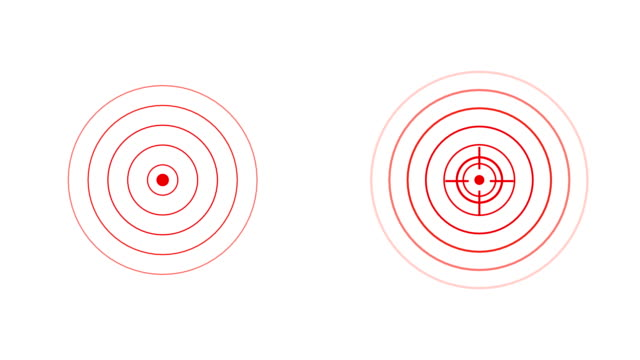 target icon with radio wave, red circles radar interface signal with concentric rings moving. animation of radio wave, radar or sonar. - radar stock videos & royalty-free footage