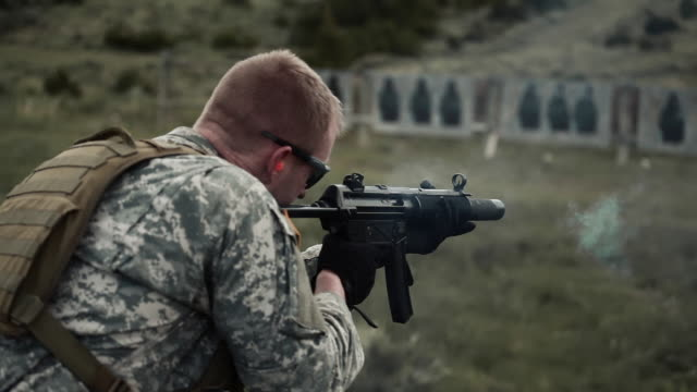 target practice with an mp5 - machine gun stock videos and b-roll footage