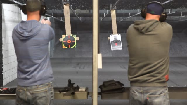 target shooting, guns gun range on february 28, 2013 in springville, utah - springville utah stock videos & royalty-free footage