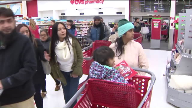WPIX Target Shoppers Outside and Inside Store on Black Friday in New York on Nov 24 2017