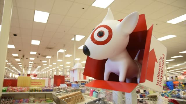A Target store in Chicago IL May 16 2016 Shots CU of target logo on shopping cart shift focus to grapefruit shandy CU of shopping cart shift focus to...