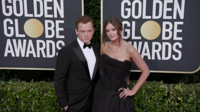 taron egerton and emily thomas at 77th annual golden globe awards at the beverly hilton hotel on january 05 2020 in beverly hills california - golden globe awards stock-videos und b-roll-filmmaterial