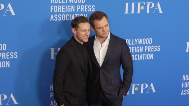 taron egerton and jamie bell at the hollywood foreign press association's annual grants banquet on july 31 2019 in beverly hills california - full suit stock videos & royalty-free footage