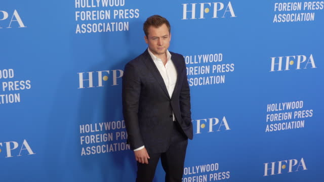 taron egerton at the hollywood foreign press association's annual grants banquet on july 31 2019 in beverly hills california - full suit stock videos & royalty-free footage