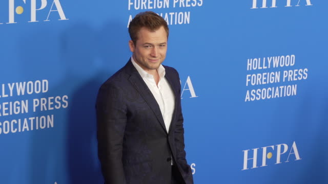 taron egerton at the hollywood foreign press association's annual grants banquet - suit stock videos & royalty-free footage