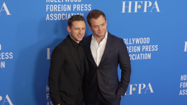 taron egerton jamie bell at the hollywood foreign press association's annual grants banquet - suit stock videos & royalty-free footage