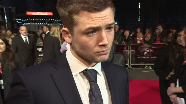 interview taron egerton on the effect making the film had on the cast lessons to be learned from the story and working with colin firth on 'kingsman... - odeon leicester square stock videos and b-roll footage
