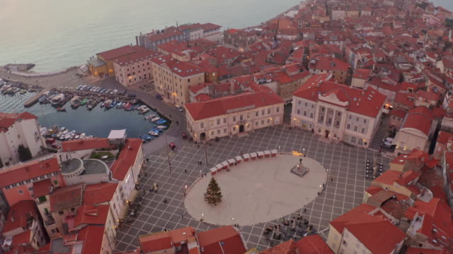 aerial tartinijev trg square and piran peninsula - slovenia stock videos & royalty-free footage