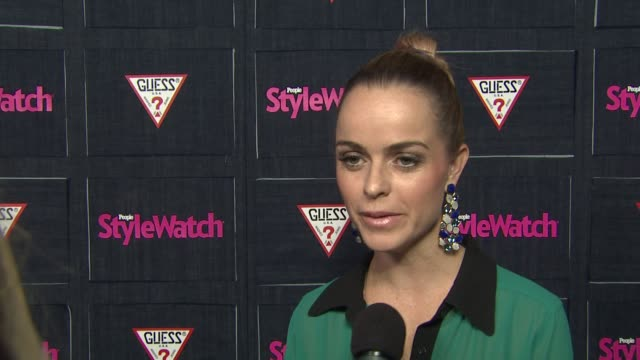 taryn manning on the event and her guess jeans, her favorite denim trends and styles, what makes denim so timeless, what role denim plays in her... - taryn manning stock videos & royalty-free footage