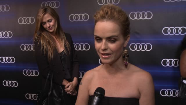 taryn manning on the night, the show's success, how she's preparing for the big night, what she's going to be wearing at audi celebrates emmy week... - taryn manning stock videos & royalty-free footage