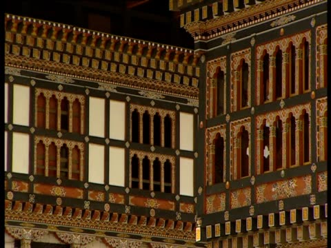 tashichho dzong boasts elaborate details. - intricacy stock videos & royalty-free footage