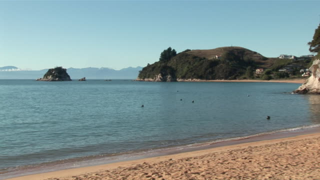 WS ZO Tasman Bay and sandy beach / Kaiteriteri, Abel Tasman National Park, Marlborough, New Zealand