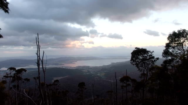 Tasmania Hobart Aerial Sunset