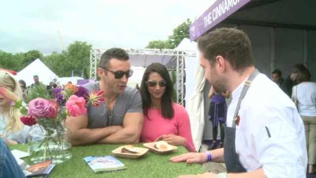 taste of london festival in regents park england london regents park ext vox pops [women at festival saying what stalls they will be visiting] food... - waffle iron stock videos and b-roll footage