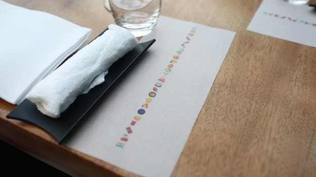 a tasting menu featuring emojis sit on a table at gaggan restaurant in bangkok thailand on friday may 5 close up spoons laden with 'yogurt explosion'... - molecular gastronomy stock videos & royalty-free footage